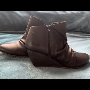 Blowfish Faux Leather Wedge Ankle Booties
